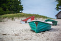 Green boat at beach turquois rowing the Royalty Free Stock Photo