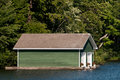 Green boathouse Royalty Free Stock Images