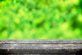 Green bokeh for picnic abstract leaf summer background with wooden table Stock Image
