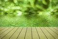 Green bokeh reflected in water. Royalty Free Stock Photo