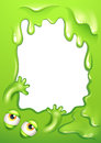 A green border with the eyes and hands of a monster illustration Stock Photos