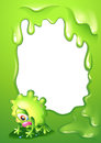 A green border template with a monster crying illustration of Royalty Free Stock Photography