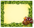 A green border with a turkey illustration of on white background Royalty Free Stock Photo