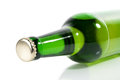 Green bottle of beer horizontally Royalty Free Stock Photo
