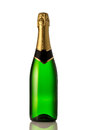 Green bottle of champagne in front white background Royalty Free Stock Images