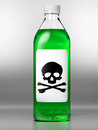 Green bottle with poison on grey background Stock Photos
