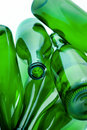 Green bottles of glass Stock Images
