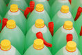 Green bottles in a row Royalty Free Stock Photo