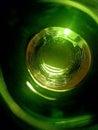 Green bottom bottle a glass photo Stock Photos