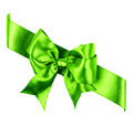 Green bow made from silk ribbon isolated Stock Photography