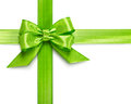 Green bow ribbon isolated on white background clipping path included Royalty Free Stock Photography