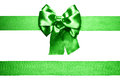 green bow and ribbon from silk Royalty Free Stock Photo