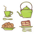 Green breakfast icon set Royalty Free Stock Photography