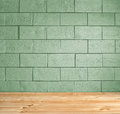 Green brick background and wooden floor Royalty Free Stock Photo