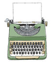 Green british typewriter with paper cute illustration