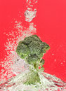 Green broccoli falling in water with air bubbles Royalty Free Stock Image