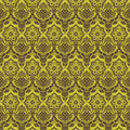 Green brown floral damask seamless pattern Royalty Free Stock Photo