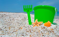 Green bucket and shell starfish by the shore in sardinia Stock Image