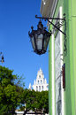 Green building blue sky white cathedral in merida mexico Royalty Free Stock Photos