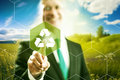 Green business recycle pressing virtual screen selecting symbol clean technology Royalty Free Stock Image