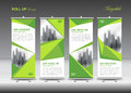 Green Business Roll Up Banner flat design template, polygon back