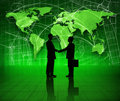 Green businessmen with business concept two shaking hands in a background global environmental conservation theme Stock Photography
