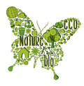Green butterfly with environmental icons hand drawn in this illustration is layered for easy manipulation and custom coloring Stock Images