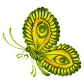 Green butterfly hand drawn illustration in ukrainian folk style Stock Photography