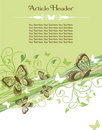 Green Butterfly and Scroll Stationery Royalty Free Stock Photo