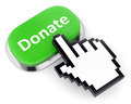 Green button donate and hand cursor crowdfunding internet charity contribution concept metallic with text isolated on Royalty Free Stock Images