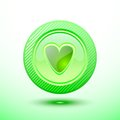 Green button heart Royalty Free Stock Photo