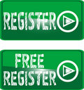 Green button sign free register Royalty Free Stock Photo