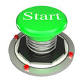 Green button, start, 3d concept isolated Royalty Free Stock Photos