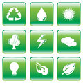 Green buttons with environmental conservation symbol vector illustration of square interface white symbols Royalty Free Stock Photography