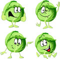 Green cabbage cartoon isolated on white Royalty Free Stock Photo