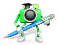 Green camera character ballpoint pen handwriting create d camera robot series Royalty Free Stock Images