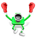 Green camera character boxer victory serenade create d camera robot series Stock Images