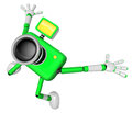 The green camera character in dynamic photos of the jump shot ca create d robot series Stock Photos