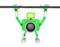 Green camera character is hanging in horizontal bar create d c robot series Royalty Free Stock Photography