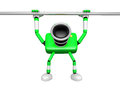 Green camera character is hanging in horizontal bar create d c robot series Royalty Free Stock Image