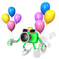 Green camera character holding various balloons create d camera robot series Royalty Free Stock Images