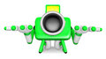 Green camera character kneel in prayer create d camera robot s series Stock Images