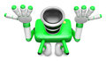 Green camera character kneel in prayer create d camera robot s series Royalty Free Stock Photo