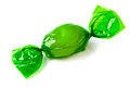 Green candy wrapped in foil Royalty Free Stock Photo