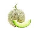 Green cantaloupe melon slices. green cantaloupe melon isolated o Royalty Free Stock Photo