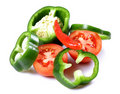 Green capsicum and tomatoes Royalty Free Stock Photo