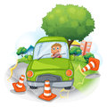 A green car bumping the traffic cones illustration of on white background Royalty Free Stock Image