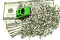 Green Car and Money Royalty Free Stock Photo