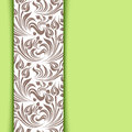 Green card with floral pattern beige Stock Images