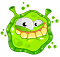 Green cartoon germ with a funny smile Royalty Free Stock Photos